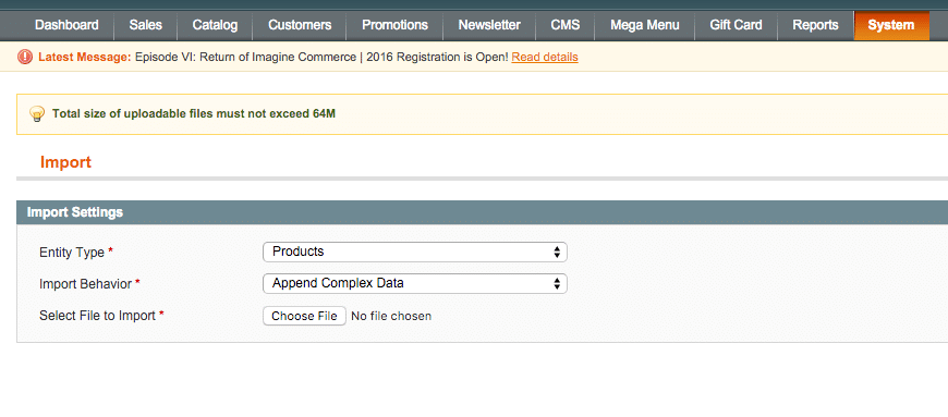 import data into Magento