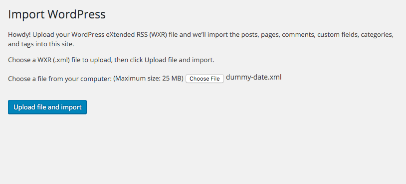 dummy data xml file import