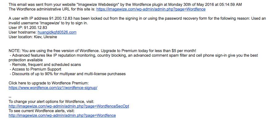WordFence Alert