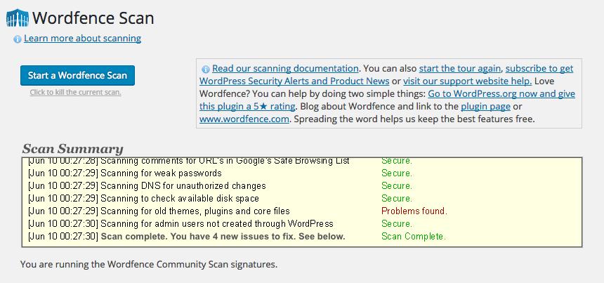 WordFence Scan