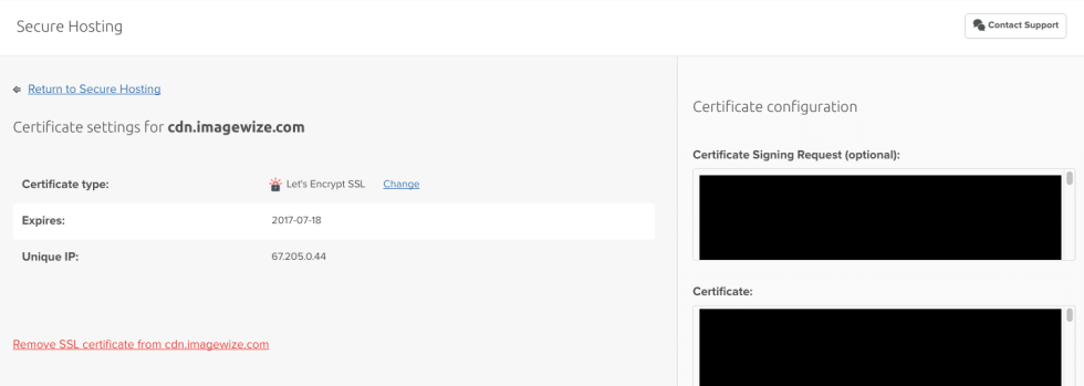 Certificate Settings