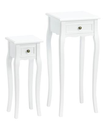 Blumentisch 2er Set, eckig, weiß