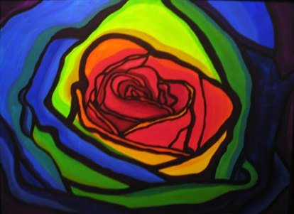 Rainbow Rose, framed, $500