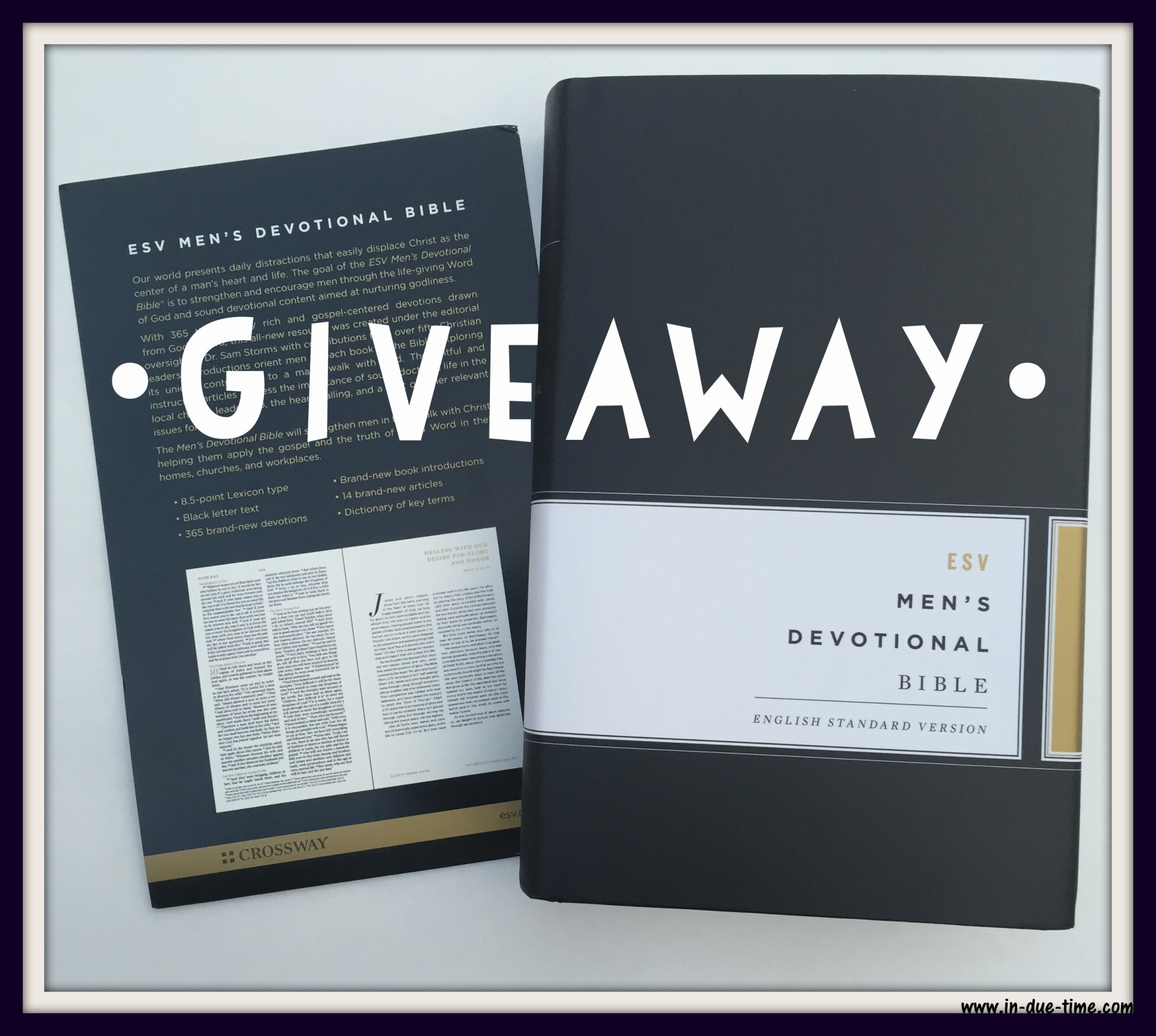 Mens Devotional Bible Giveaway - In Due Time Blog