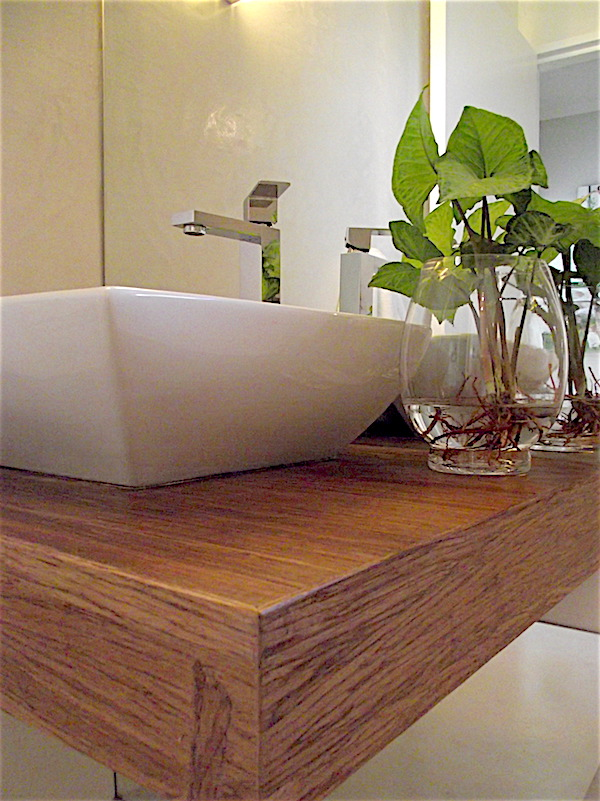 Powder room with timber top and full height mirror and glass vase with water plant