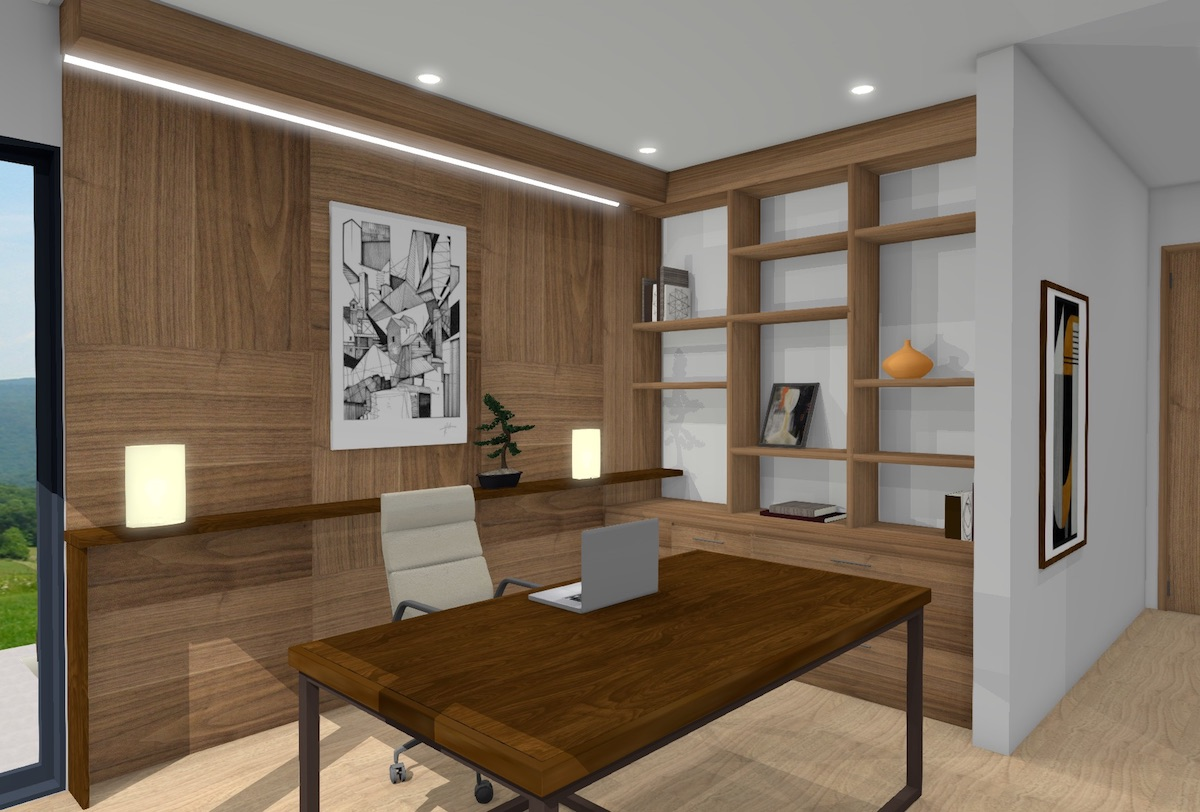 contemporary office design with open shelving and wood paneling
