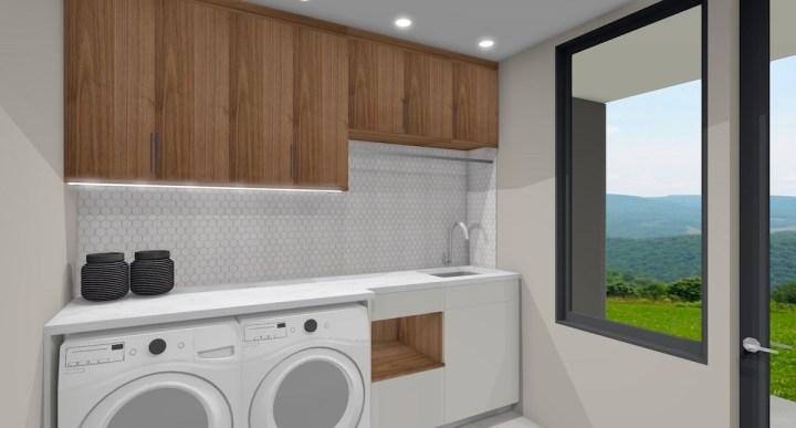 laundry design with hexagon backsplash