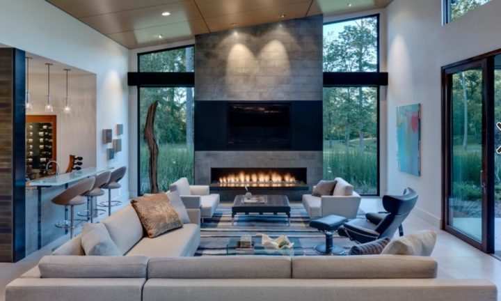 Tv And Fireplace In One Room Find The Perfectly Happy Spot For That Black Beast In Form Design Interior Solutions You Ll Love