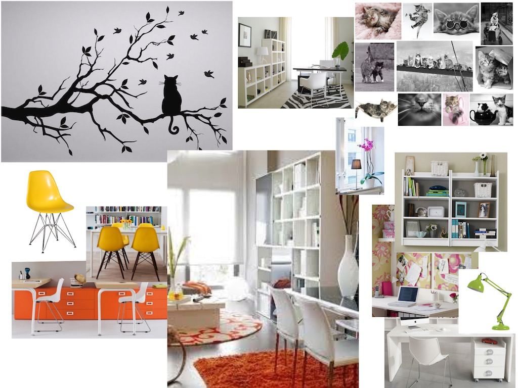 mood board for model agency with yellow chairs and orage rug