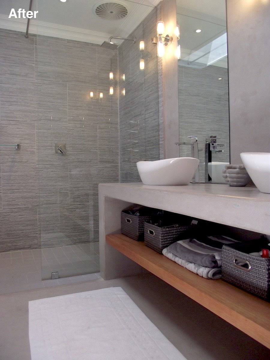 ensuite vanity and shower after