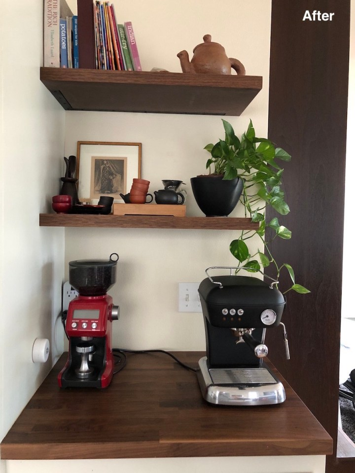 Kitchen coffee nook with timber shelves