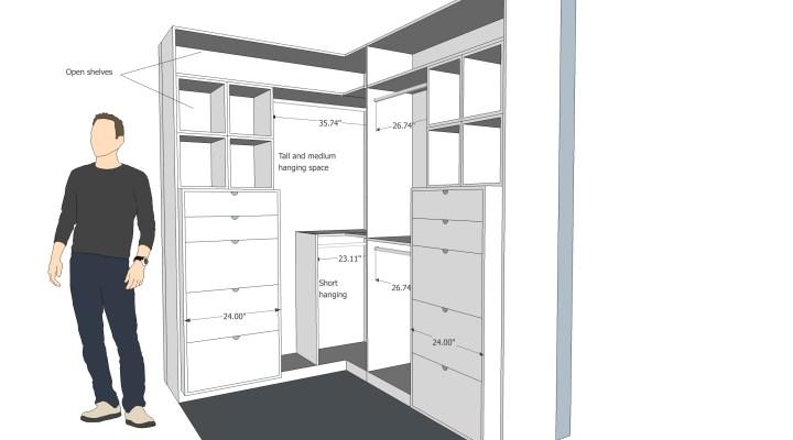 Closet remodel 3D drawing