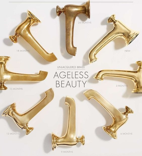 un-lacquered raw brass from shiny to dull