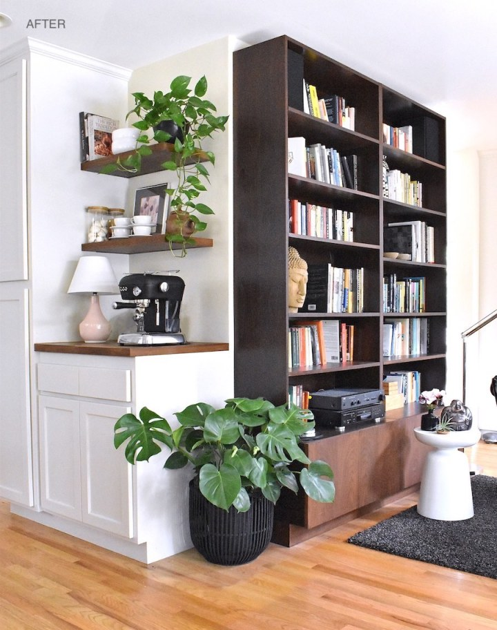 Home library with custom bookcase and coffee corner