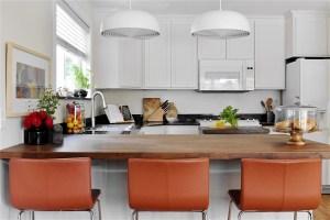 Kitchen upgrade white cabinets butchers block peninsula counter