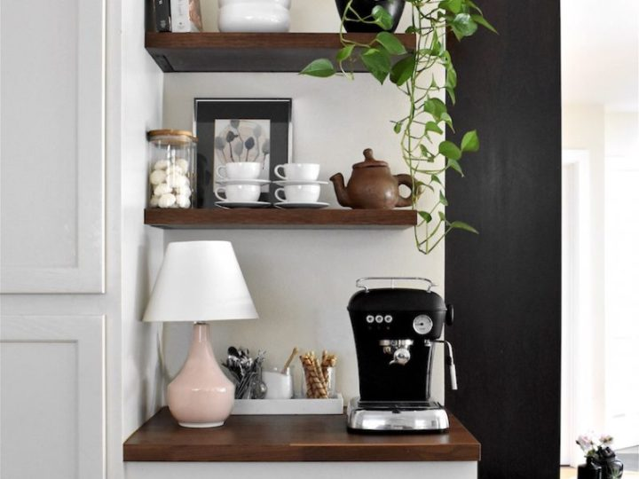 Kitchen upgrade white painted cupboards open shelves table lamp