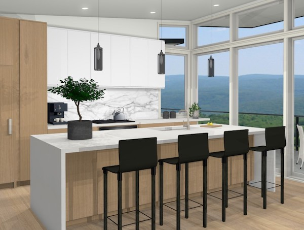 kitchen rendering with white oak and white cabinets contemporary waterfall quartz island