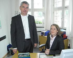 Bürgermeister Lutz Urbach mit der neuen Sprecherin