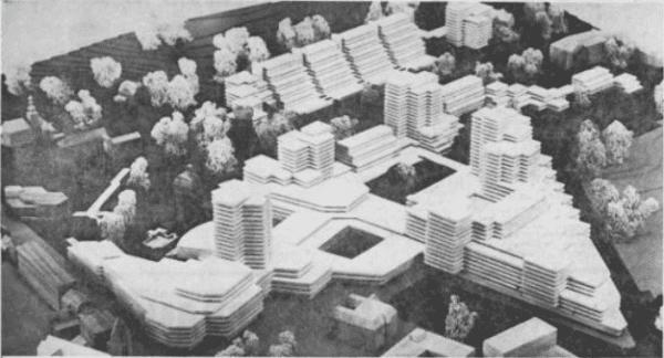 Franz Weissenbergers Vision für Bergisch Gladbach: unten links der geplante neue Bergische Löwe