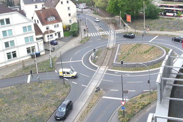 Der Kreisverkehr am Driescher Kreuz in Bergisch Gladbach