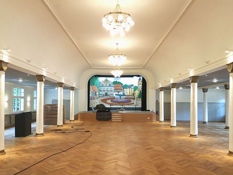 """Der historische Bocker Saal im """"Gaffel am Bock"""" in Bergisch Gladbach nach der Sanierung 2016"""