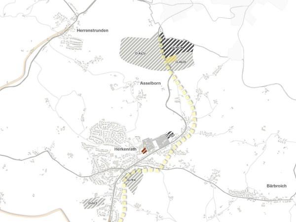 Potenzielle Gewerbegebiete im Osten der Stadt. Dunkelgraue Flächen wurden als geeignet eingestuft, die hellgrauen als nicht geeignet. Ein Klick vergrößert die Karte.