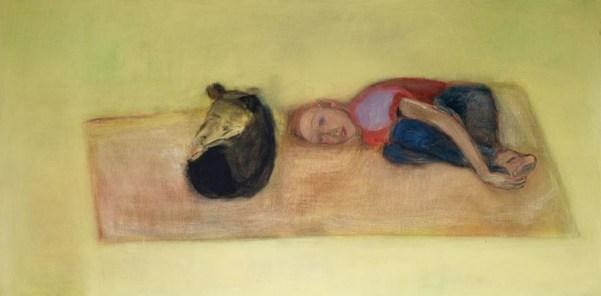 Barbara Camilla Tucholski, Jana mit Hund, 1993, Öl auf Leinwand, 90×180 cm