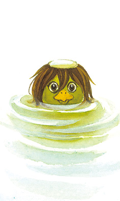"""""""Kappa"""", a kind of Japanese monster living in water (a small illustration for August 2017 calendar)"""