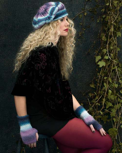 beret and fingerless mitts