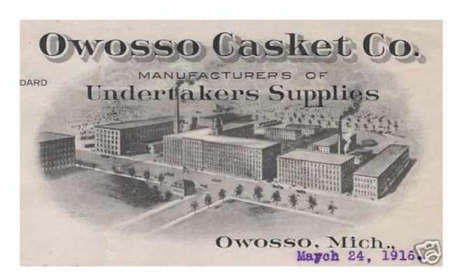 Owosso Casket Company Billhead 1916