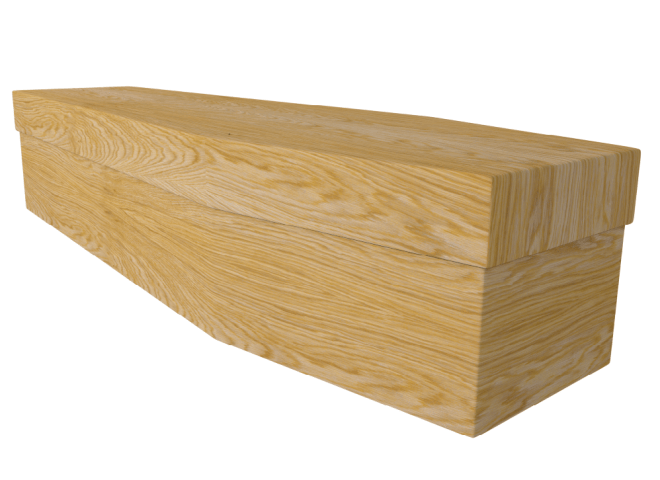 cardboard casket with wooden finish
