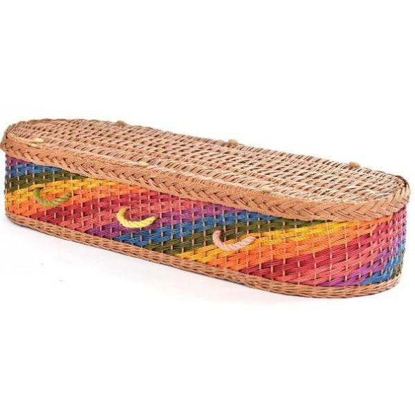 rainbow wicker casket