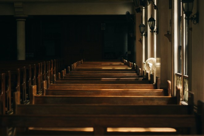Church pews before a funeral service