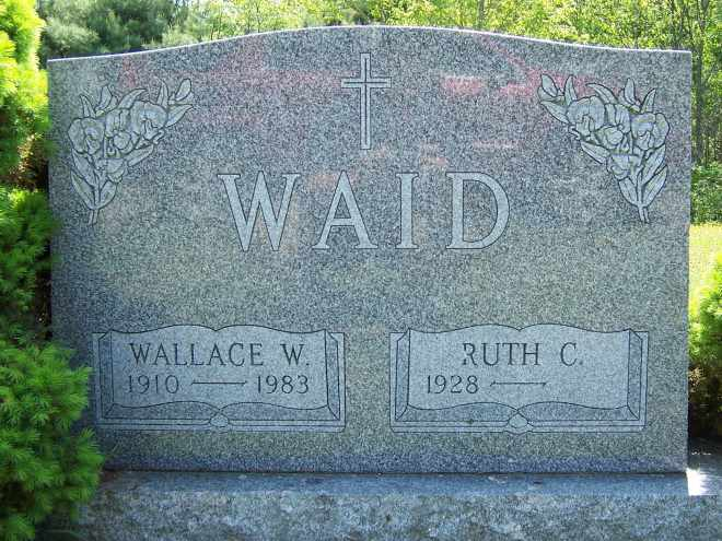 Double Headstone with flowers