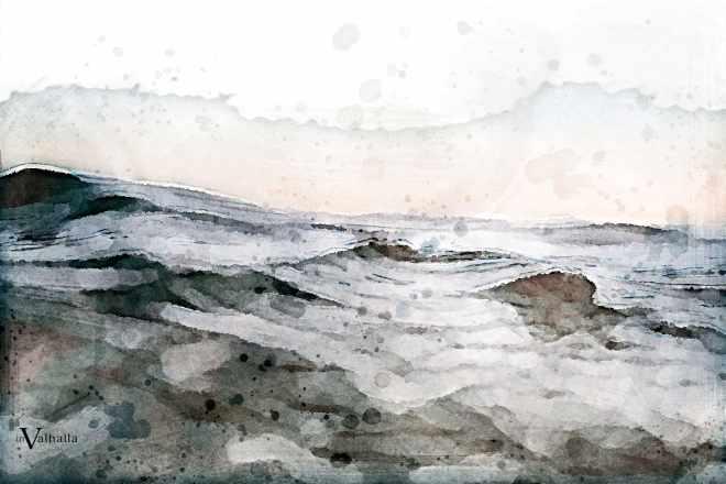 Watercolor image of ocean waves