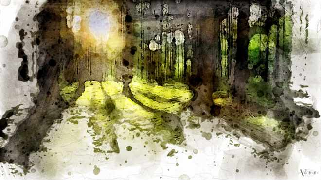 Watercolor of sun beams coming through green forest