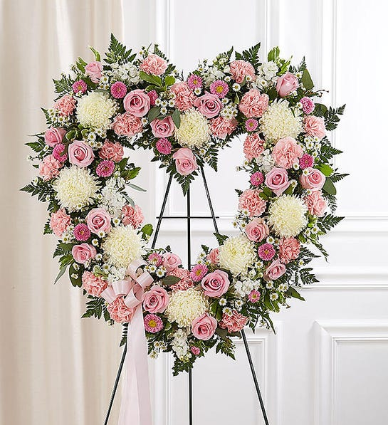 Always Remember™ Floral Heart Tribute - Pink & White Funeral Wreath