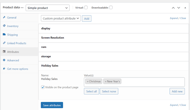 Example of adding Attributes in Product Data section