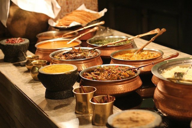 Buffet of various Indian dishes