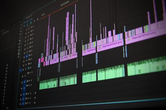 Closeup of computer monitor showing video editing software