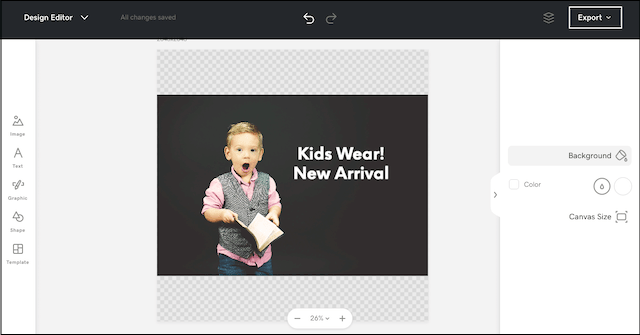 Websites + Marketing design editor with a photo selected