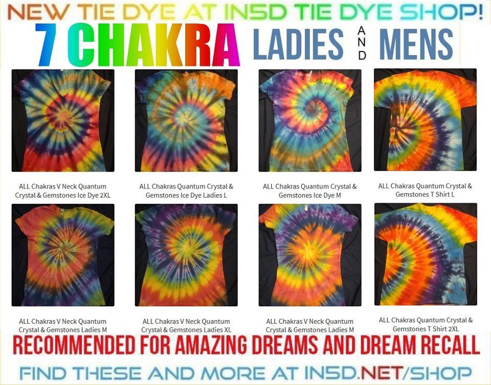 NEW 7 Chakra Quantum Crystal & Gemstones Tie Dye Shirt