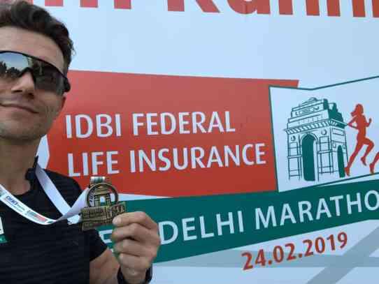 Medaille des Neu Delhi Marathons 2019 redlich verdient.