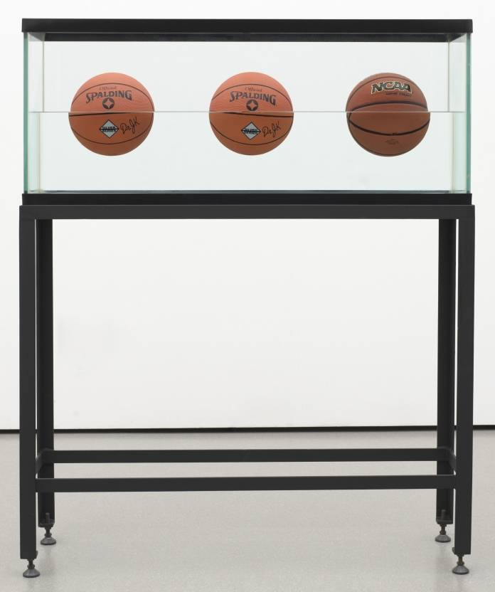 Jeff Koons - Three Ball 50⁄50 Tank (Two Dr. J. Silver Series, One Wilson Supershot) 1985. Photo: moma.org