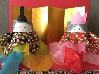 雛人形と折り紙のひな壇と屏風