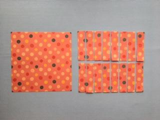 折り紙を16等分に切る