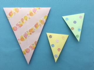 折り紙にマスキングテープで飾り付け