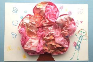 桜の壁面工作の完成