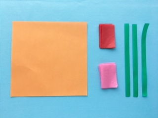 花束のメッセージカードの準備 折り紙