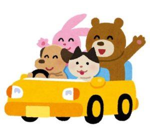 車に乗っている動物たちのイラスト